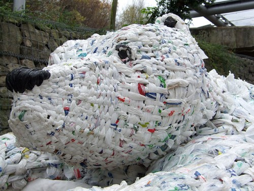 pastic bag trash art