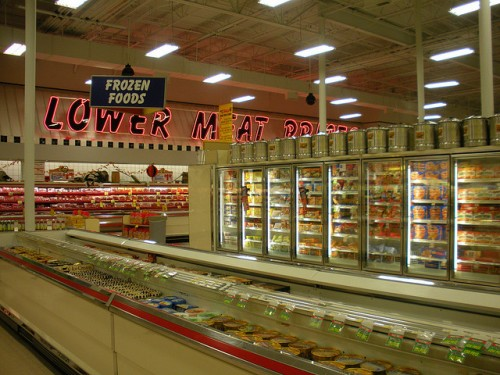 supermarket frozen food aisle