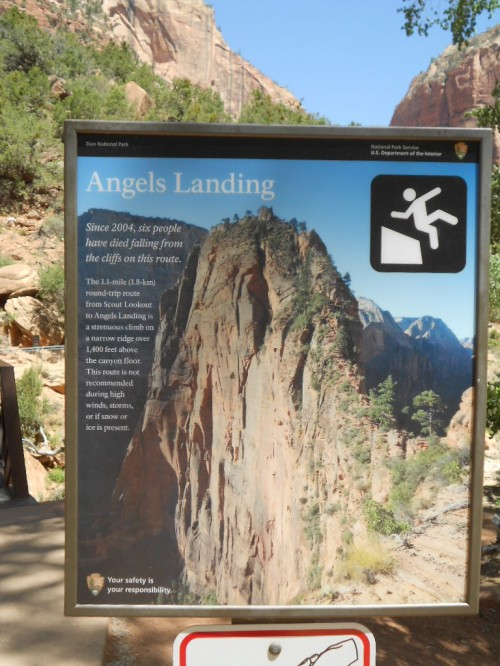 Angel's Landing warning sign Zion