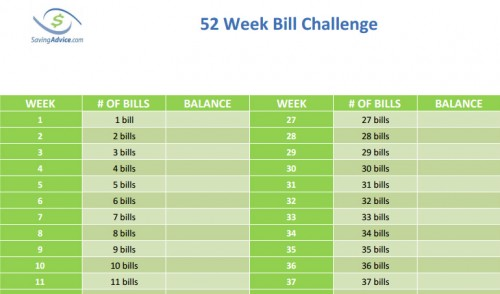 52 week bill money challenge