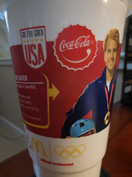 Olympic advertising on McDonald's drink cups