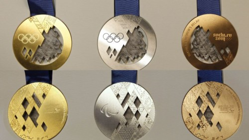 Sochi Olympics gold silver and bronze medals
