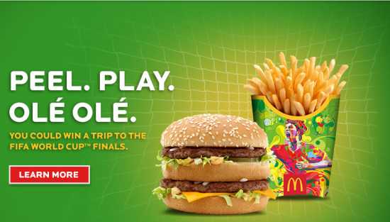 McDonald's World Cup peel play ole instant win game