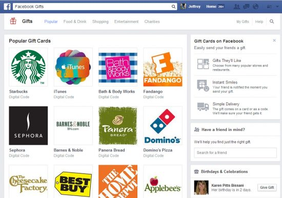 Facebook Gifts gift card service will end August 12