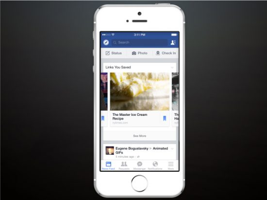 Facebook introduces a new Save feature in newsfeeds