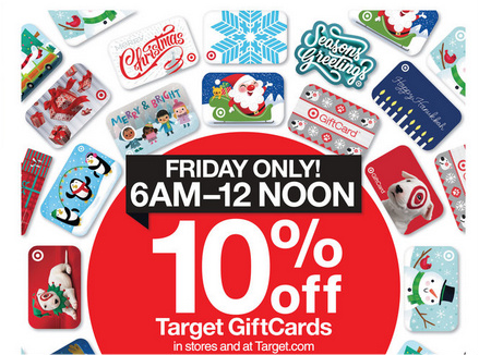 Target Black Friday deal of 10% off Target gift cards