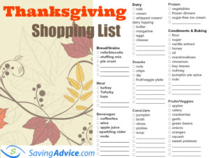 Plan Your Feast With This Thanksgiving Dinner Printable Shopping List