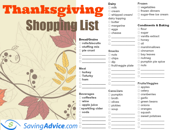 Thanksgiving Dinner Printable Shopping List - SavingAdvice ...