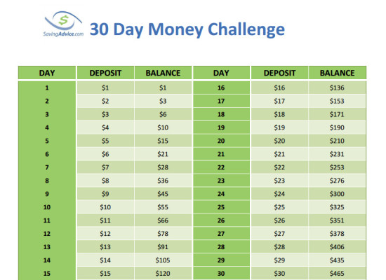 Save $465 with the 30 day money challenge