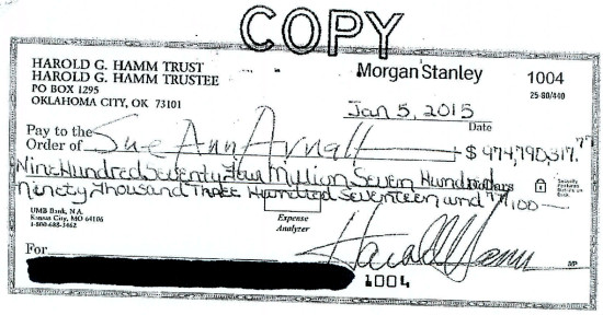 $974.8 million check rejected in divorce settlement