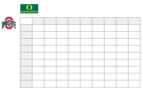 Oregon Ducks vs Ohio State Buckeyes football squares