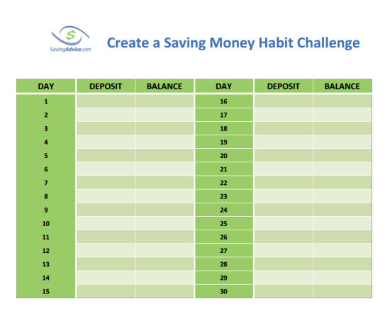 30 day create a money saving habit challenge