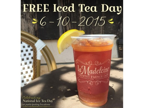 La Madeleine offering  free iced tea for national iced tea day