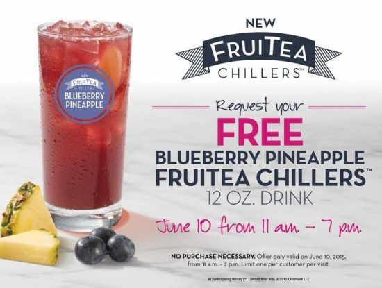 Wendy's free pineapple bluberry fruitea for national iced tea day