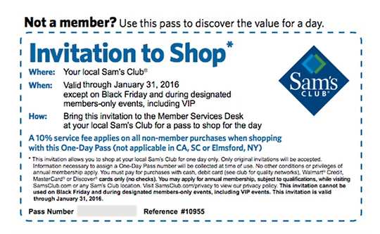 Your Free One-Day Pass for Sam's Club