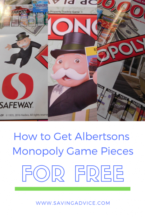 Albertsons Monopoly game pieces for free