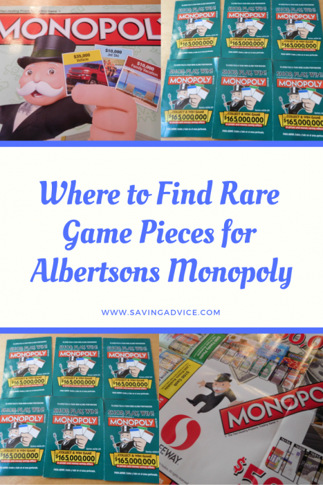 Rare play pieces for Albertson's Monopoly