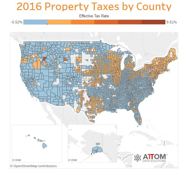 2016 property tax rates by county