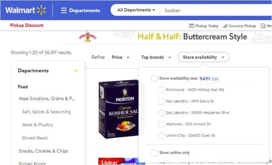 Walmart has a huge kosher food inventory.