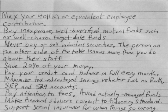 index card financial advice