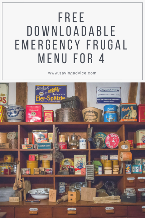 emergency frugal menu