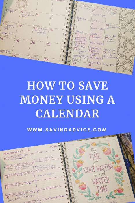 how to save money using a calendar